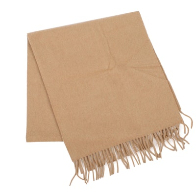 Burberrys Cashmere Fringed Scarf in Camel with Embroidered Logo