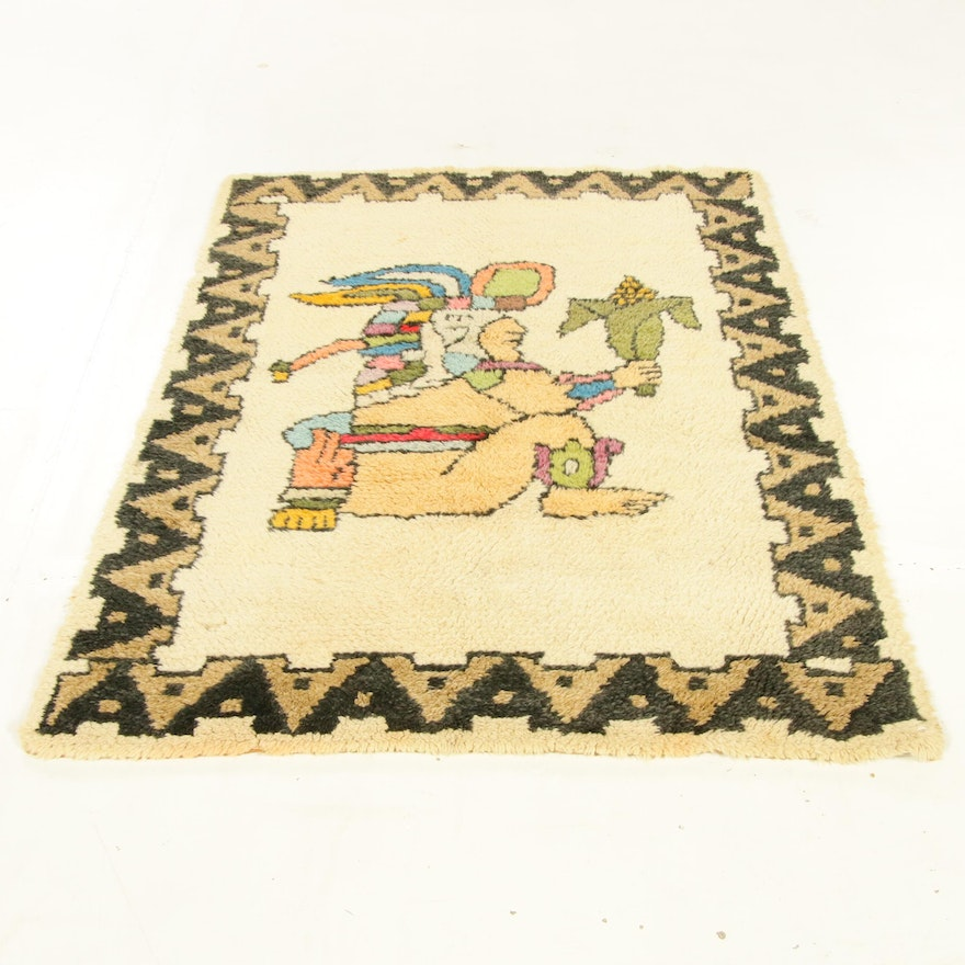 3'4 x 4'11 Hand-Knotted European Mesoamerican Style Pictorial Rug, 1960s