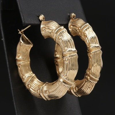 14K Yellow Gold Motif Hoop Earrings