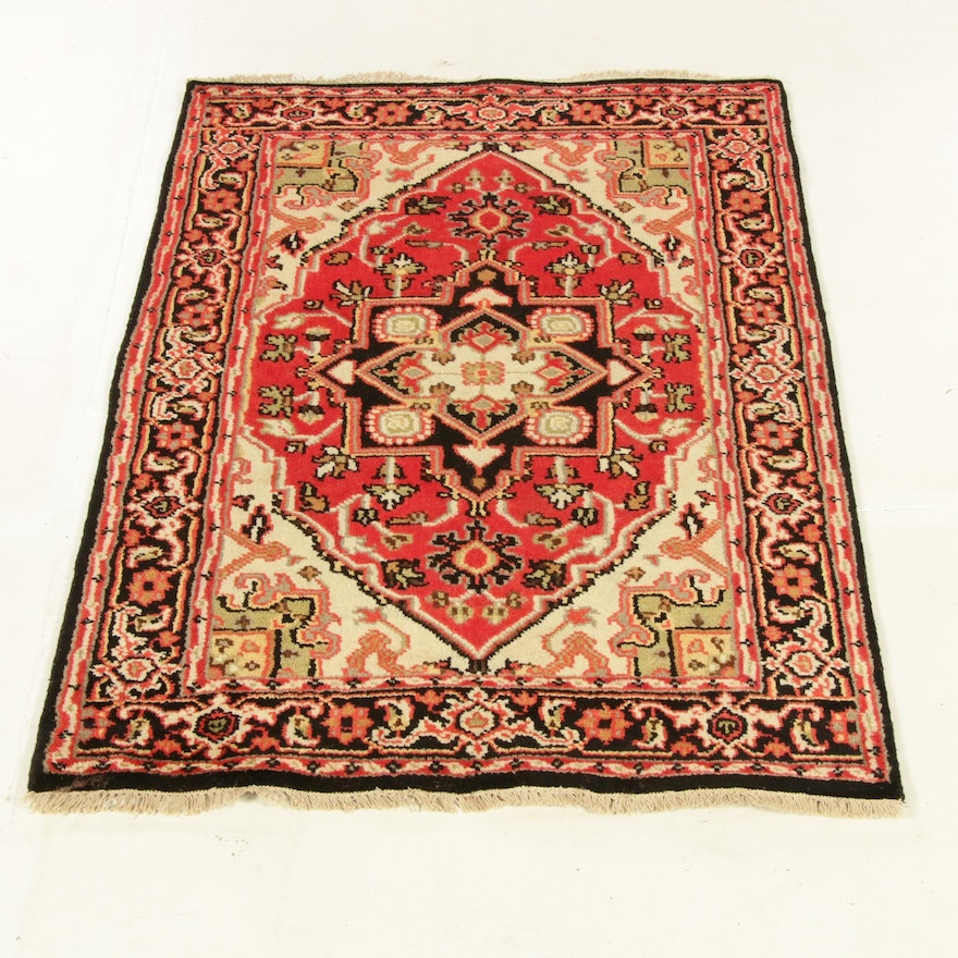 4'0 x 6'1 Hand-Knotted Indo-Persian Heriz Rug, 2010s