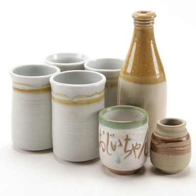 Glazed Stoneware Bottle, Tumblers, and Other Tableware