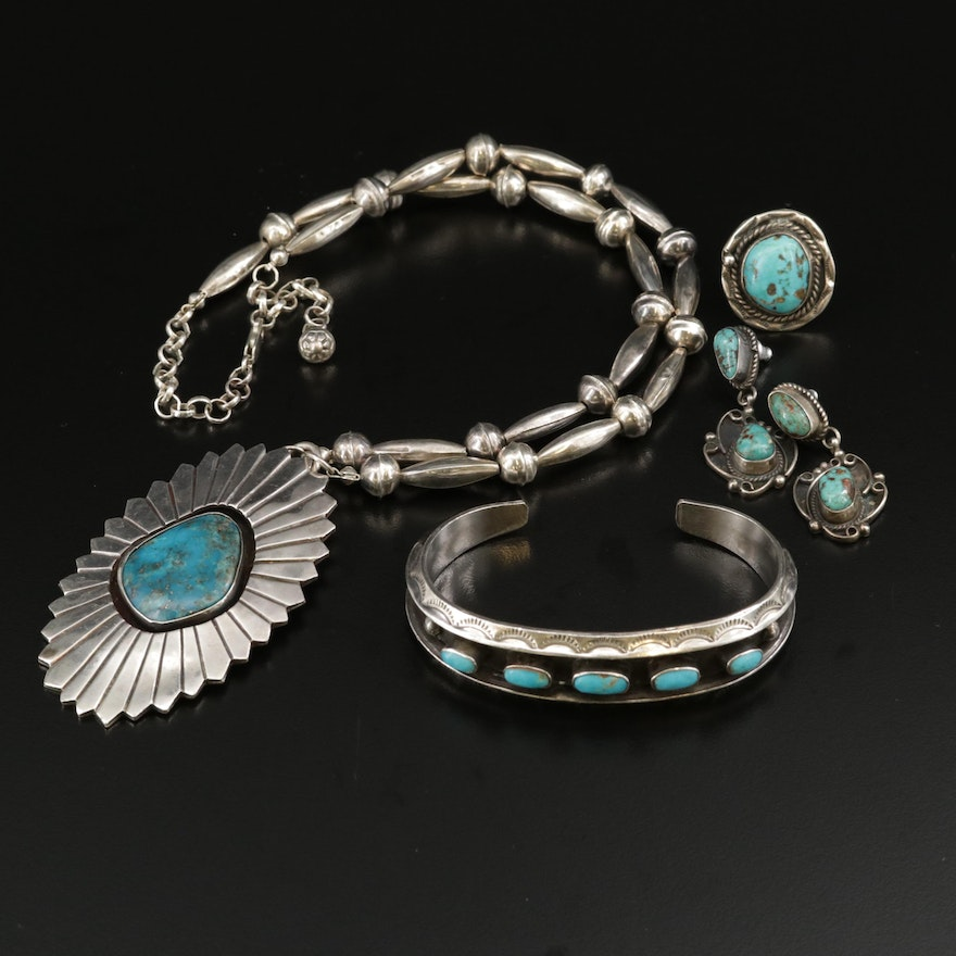 Assortment of Southwestern Style Sterling Turquoise Jewelry
