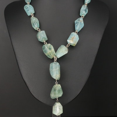 Sterling Silver and Faceted Beryl Link Necklace