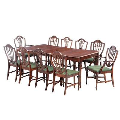 Hepplewhite Style Cherry Upholstered Dining Set, Early to Mid 20th Century