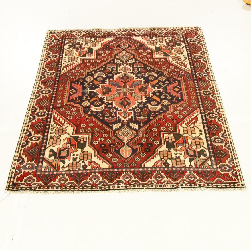 5'4 x 6'10 Hand-Knotted Persian Bakhtiari Rug, 1970s