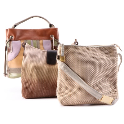 Liz Claiborne Leather Bucket Bag, Capaccioli and Sharif Woven Shoulder Bags