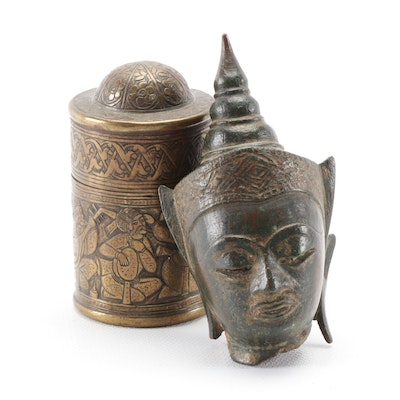 Thai Bronze Buddha Head and Brass Betel Nut Box, 19th Century