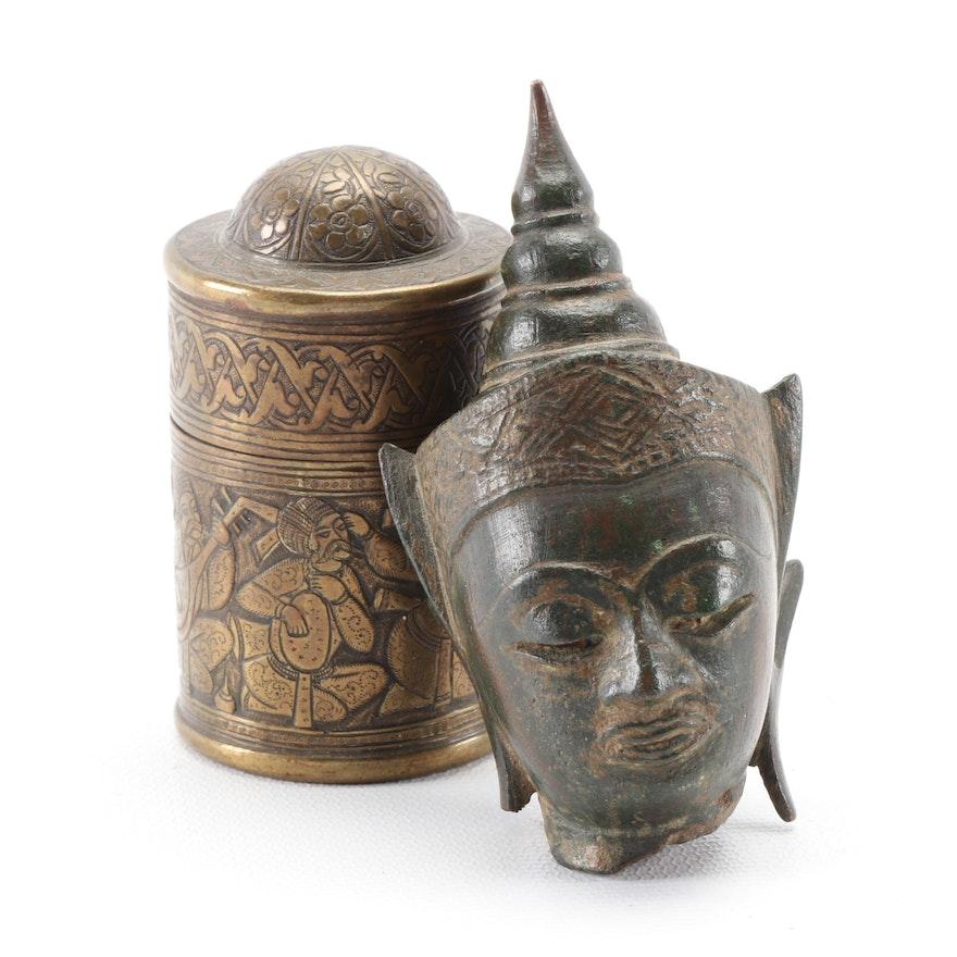 Thai Bronze Buddha Head and Brass Betel Nut Box, 19th Century