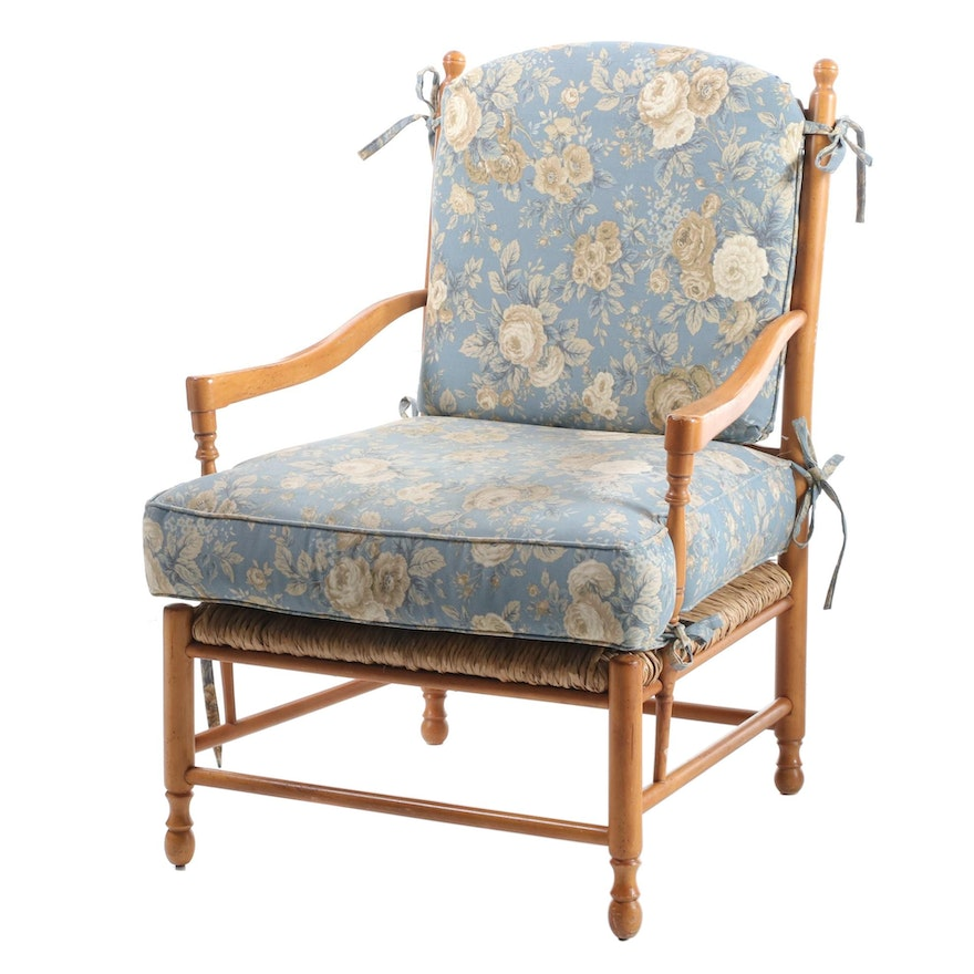 French Provincial Style Beech Armchair with Fitted Cushions, Late 20th Century