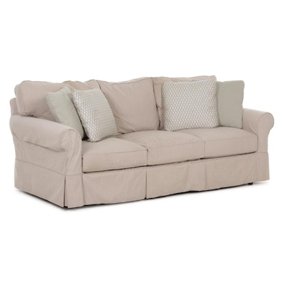 Contemporary Camden Collection Sofa with Taupe Slipcover