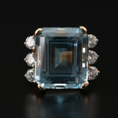 14K Gold 27.45 CT Blue Topaz and 1.32 CTW Diamond Ring