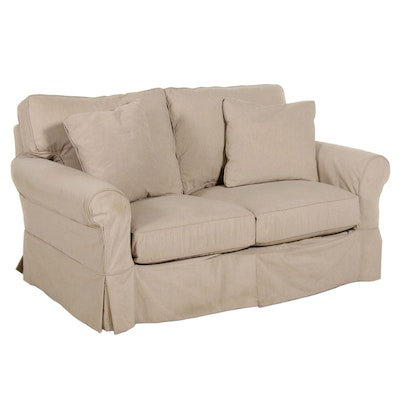 Camden Collection Loveseat Sofa with Taupe Slipcover