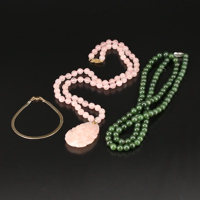 Sterling Herringbone Chain Braclet with Rose Quartz and Nephrite Necklaces