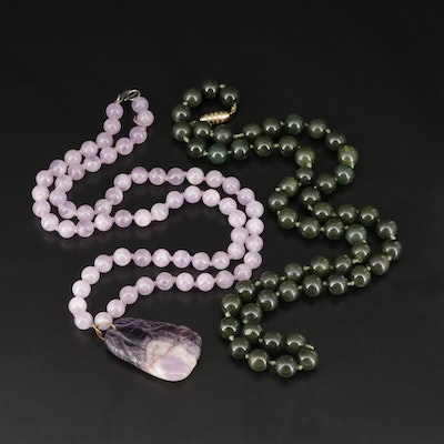 Nephrite and Amethyst Pendant Necklace
