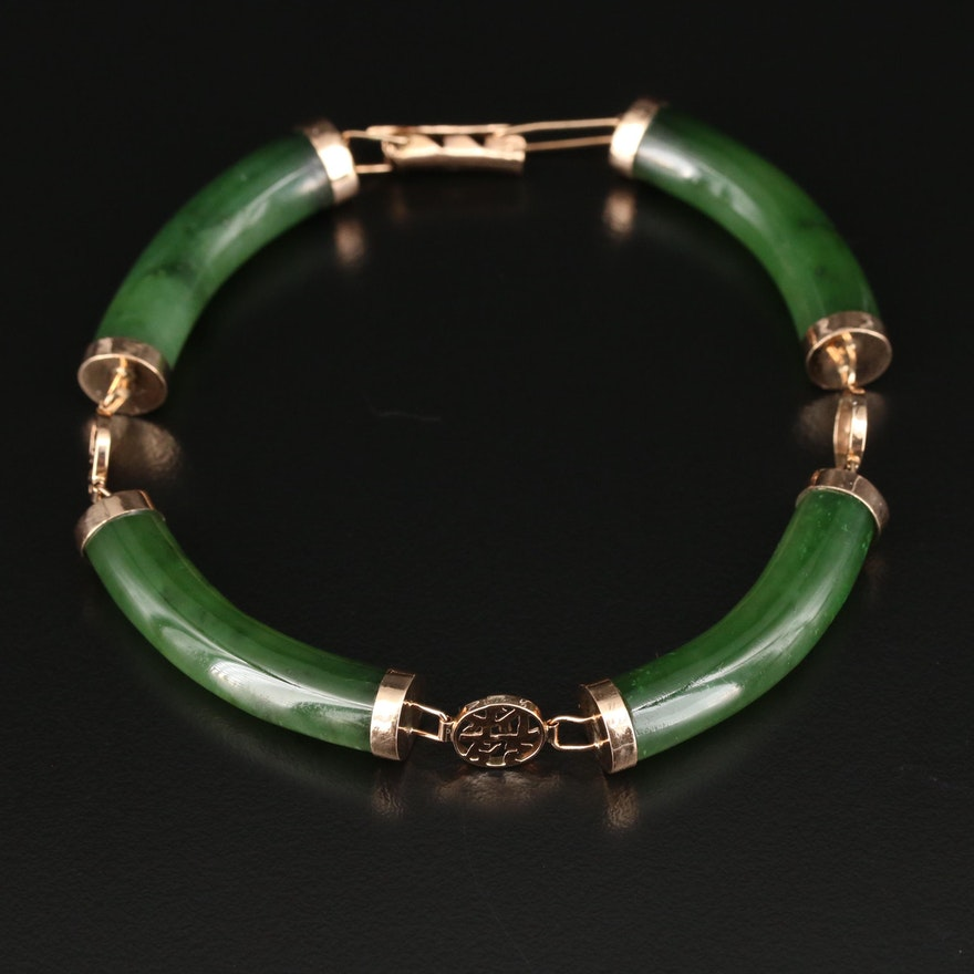 Asian Style 14K Yellow Gold Nephrite Bracelet