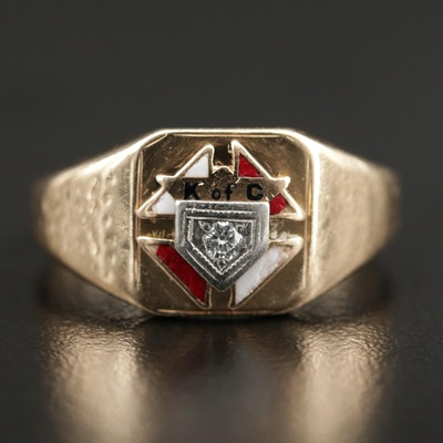 Vintage 10K Yellow Gold  Diamond Knights of Columbus Ring