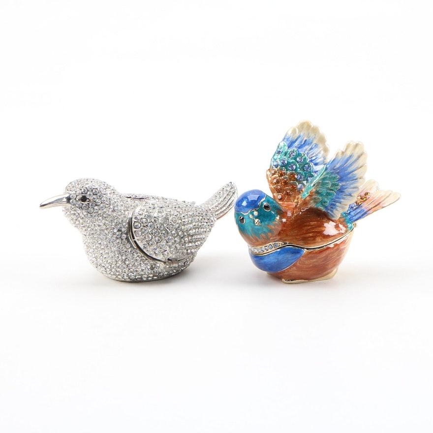 Rhinestone and Enamel Bird Themed Trinket Boxes