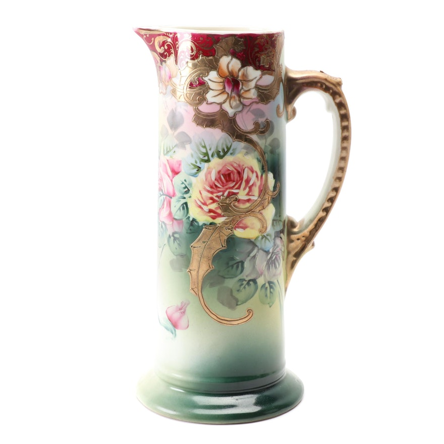 Japanese Hand-Painted Porcelain Pitcher, Early 20th Century