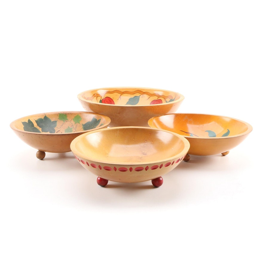 Rio Grande and Munising Hand-Painted Wooden Bowls, Mid-20th Century
