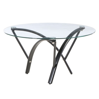 Modernist Style Metal and Glass Top Coffee Table