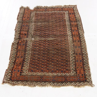 2'5 x 3'11 Hand-Knotted Persian Baluch Rug, 1890s