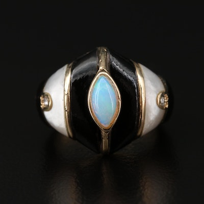 14K Gold Opal, Mother of Pearl, Enamel and Diamond Ring