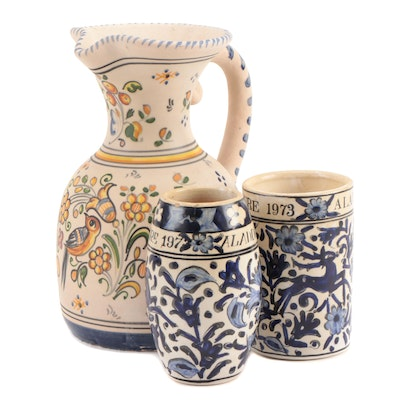 IKaros Pottery Hand-Painted Vases with Other Hand-Painted Earthenware Pitcher