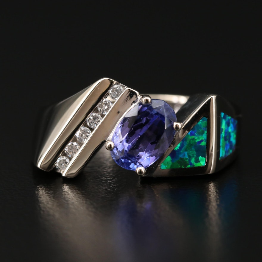 14K Gold Tanzanite, Diamond and Synthetic Opal Ring