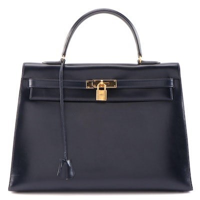 Hermès Kelly Handbag in Dark Navy Box Calf Leather, 1970s Vintage
