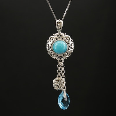Sterling Silver Topaz and Turquoise Drop Pendant Necklace