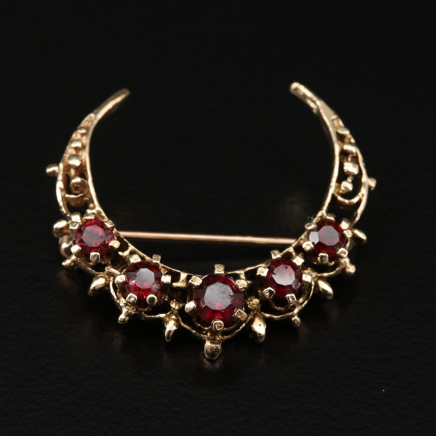 Vintage 14K Yellow Gold Garnet Crescent Moon Brooch