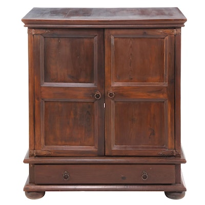 Stained Pine Media Cabinet, Late 20th Century