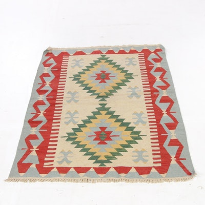 3'11 x 5'7 Handwoven Turkish Village Kilim Rug, 1990s