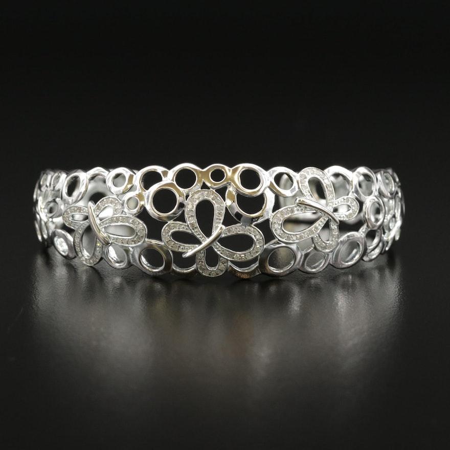 Fine Silver Diamond Butterfly Cuff Bracelet