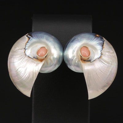 Shell and Coral Earrings with 14K Gold Accents
