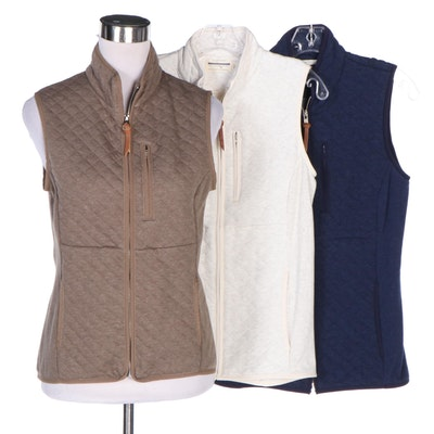 Guideboat Co. Quilted Blue, Brown and White Cotton Blend Zip Vests