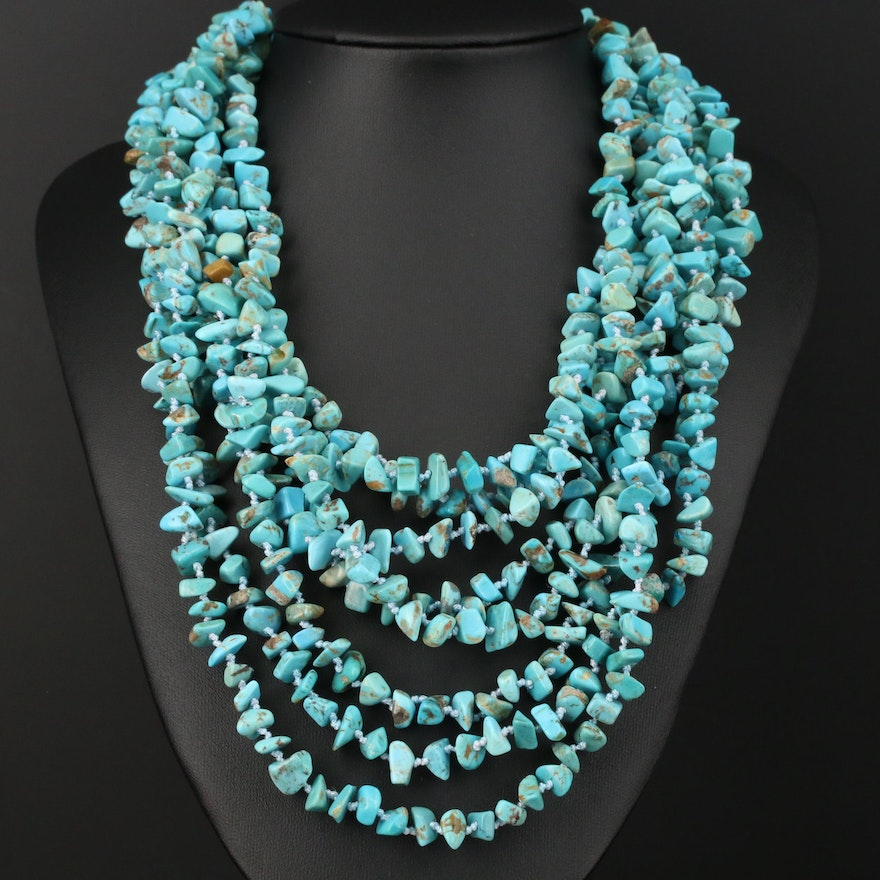 Multi-Strand Turquoise and Mother of Pearl Necklace