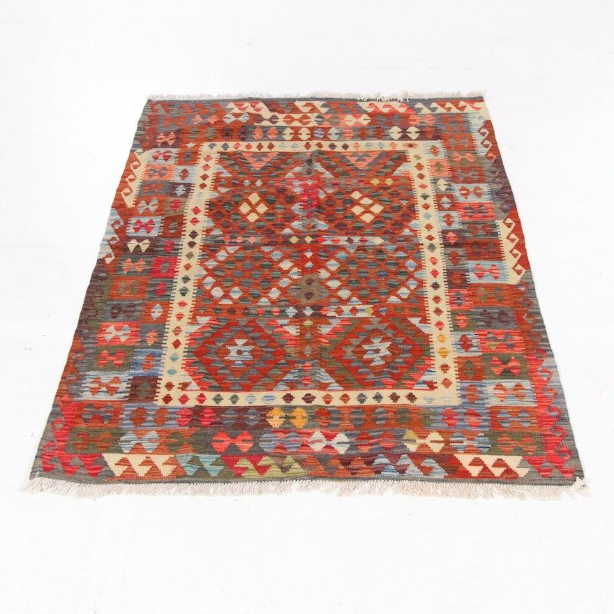 4'11 x 6'8 Handwoven Turkish Caucasian Kilim Rug, 2010s