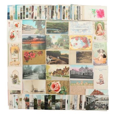 Ninety-Six Antique to Vintage U.S. Postcards