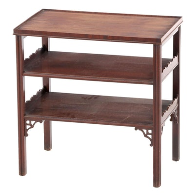 Chippendale Style Mahogany Tiered End Table, Mid-20th Century