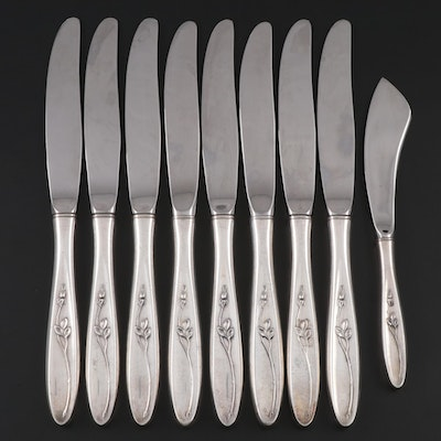 "Towle ""Rose Solitaire"" Sterling Handled Dinner Knives and Master Butter Knife"