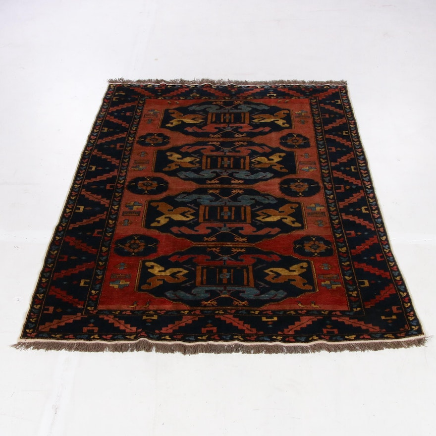 5'9 x 7'3 Afghani Northwest Persian Pictorial Rug, 1980s