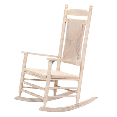 Pickled Oak and Rush-Upholstered Rocking Chair, Mid to Late 20th Century