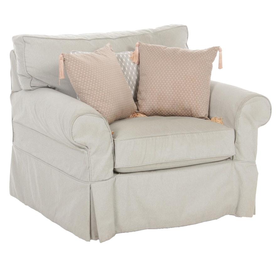 McCreary Modern Swivel Chair with Seafoam Slipcover
