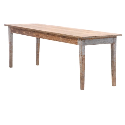 French Pine Farm Table, Late 19th Century