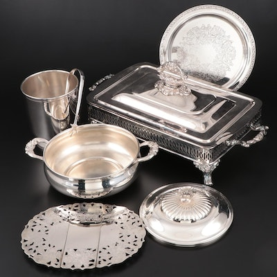 Silver Plate Ice Bucket with Tongs and Other Serveware