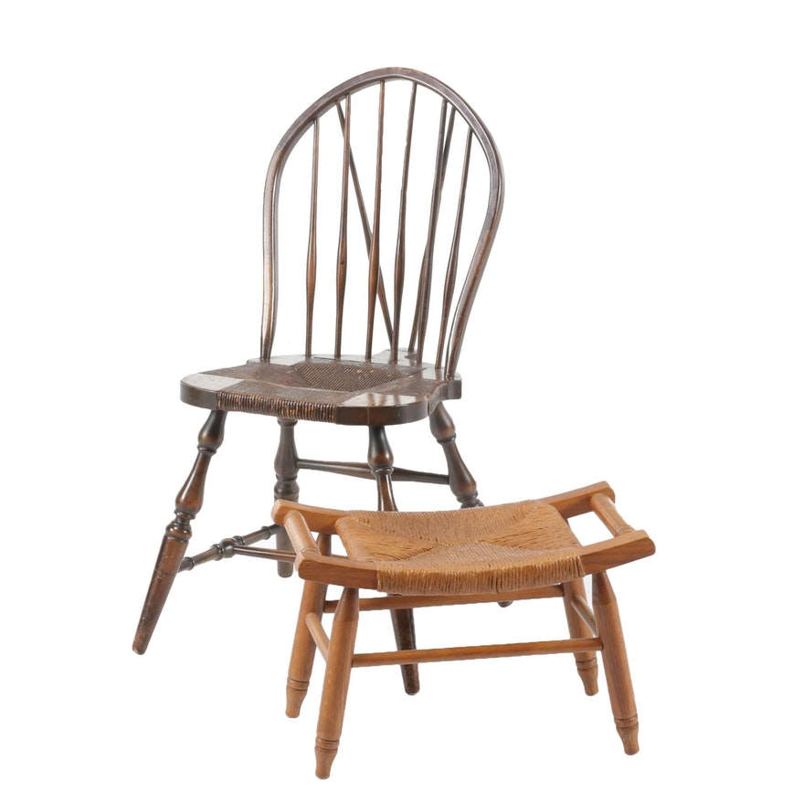 American Colonial Style Rush Seat Chair and Oak Stool, Mid to Late 20th Century