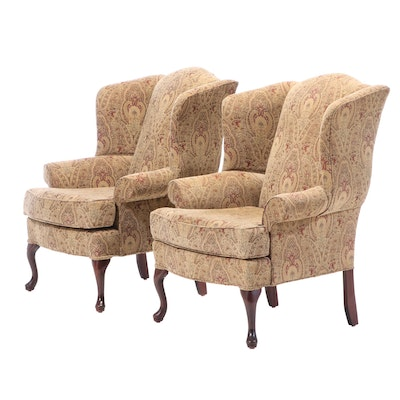 Queen Anne Style Crystal Furniture Wingback Arm Chairs, Late 20th Century