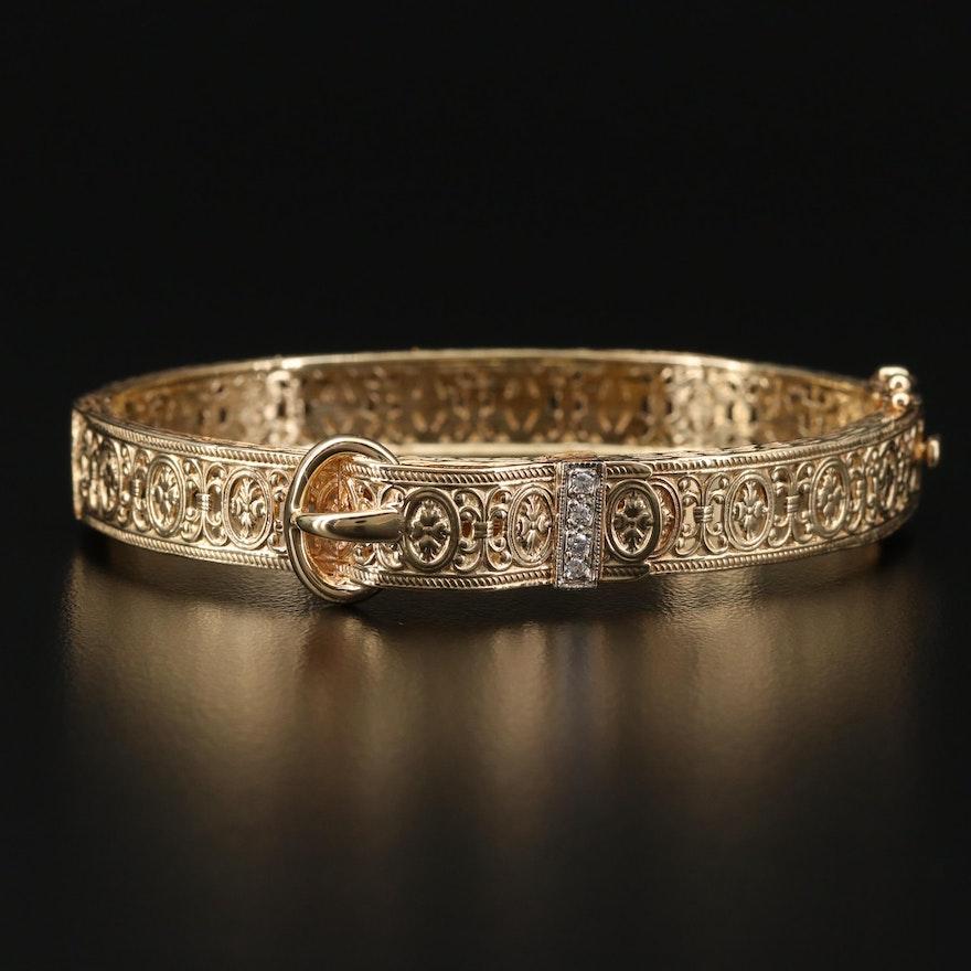 14K Gold Diamond Buckle Bracelet