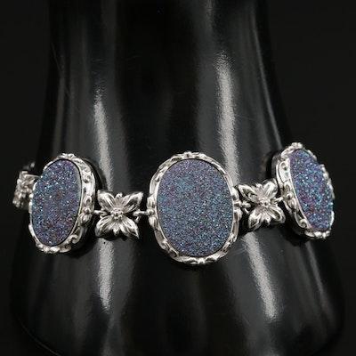 Sterling Silver Druzy Floral Link Bracelet